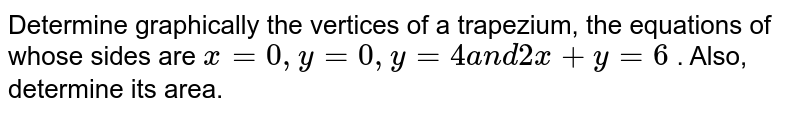 Determine graphically the vertices of a trapezium, the equations of   whose sides are `x=0,y=0,y=4a n d2x+y=6` . Also, determine its area.