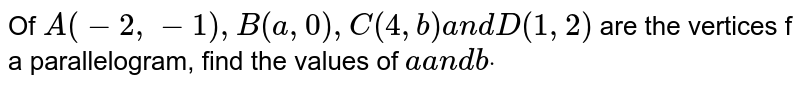 Of `A(-2,-1),B(a ,0),C(4, b)a n dD(1,2)` are the vertices f a parallelogram, find the values of `aa n dbdot`