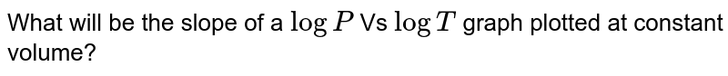 What will be the slope of a `logP`  Vs `logT` graph plotted at constant volume?