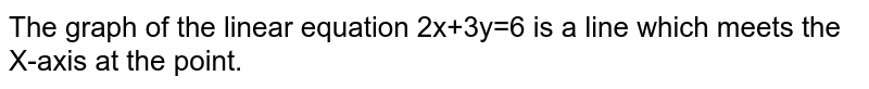 The graph of the linear equation 2x+3y=6 is a line which meets the X-axis at the point.