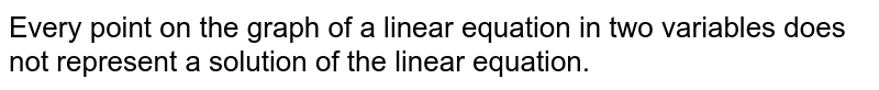 Every point on the graph of a linear equation in two variables does not represent a solution of the linear equation.