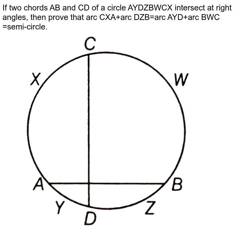 """If two chords AB and CD of a circle AYDZBWCX intersect at right angles,  then prove that arc CXA+arc DZB=arc AYD+arc BWC =semi-circle. <br> <img src=""""https://d10lpgp6xz60nq.cloudfront.net/physics_images/ARH_NCERT_EXE_MATH_IX_C10_S01_046_Q01.png"""" width=""""80%"""">"""