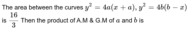 The area between the curves `y^(2)=4a(x+a),y^(2)=4b(b-x)` is `(16)/(3)` Then the product of A.M & G.M of `a` and `b` is
