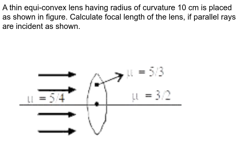"""A thin equi-convex lens having radius of curvature 10 cm is placed as shown in figure. Calculate focal length of the lens, if parallel rays are incident as shown. <br> <img src=""""https://d10lpgp6xz60nq.cloudfront.net/physics_images/MOT_CON_JEE_PHY_C20_E01_059_Q01.png"""" width=""""80%"""">"""