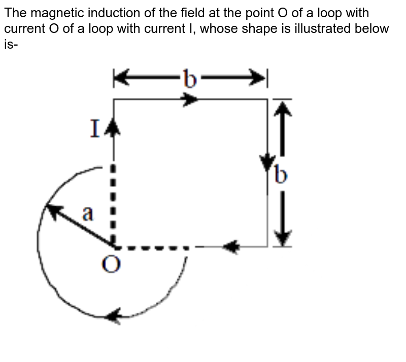 """The magnetic induction of the field at the point O of a loop with current O of a loop with current I, whose shape is illustrated below is- <br> <img src=""""https://d10lpgp6xz60nq.cloudfront.net/physics_images/MOT_CON_JEE_PHY_C26_E03_048_Q01.png"""" width=""""80%"""">"""