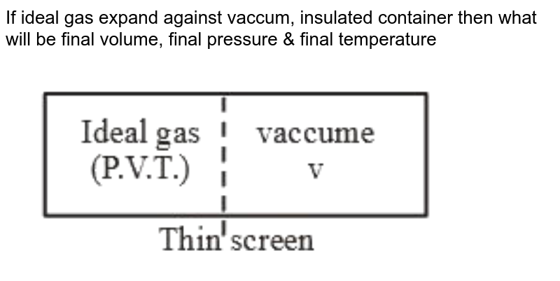 """If ideal gas expand against vaccum, insulated container then what will be final volume, final pressure & final temperature <br> <img src=""""https://d10lpgp6xz60nq.cloudfront.net/physics_images/MOT_CON_NEET_PHY_C16_SLV_008_Q01.png"""" width=""""80%"""">"""