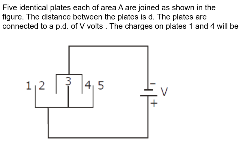 """Five identical plates each of area A are joined as shown in the figure. The distance between the plates is d. The plates are connected to a p.d. of V volts . The  charges on plates 1 and 4 will be <img src=""""https://d10lpgp6xz60nq.cloudfront.net/physics_images/MOT_CON_NEET_PHY_C30_E01_022_Q01.png"""" width=""""80%"""">"""
