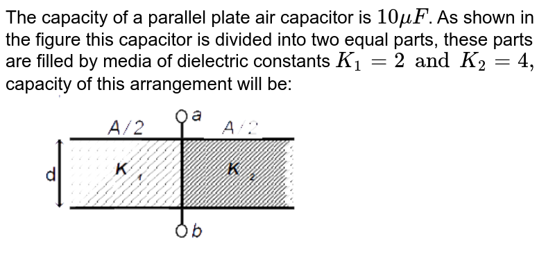 """The capacity of a parallel plate air capacitor is `10muF`. As shown  in the figure this capacitor is divided into two equal parts, these parts are filled by media of dielectric constants `K_1=2 and K_2=4,` capacity of this arrangement will be: <img src=""""https://d10lpgp6xz60nq.cloudfront.net/physics_images/MOT_CON_NEET_PHY_C30_E02_024_Q01.png"""" width=""""80%"""">"""