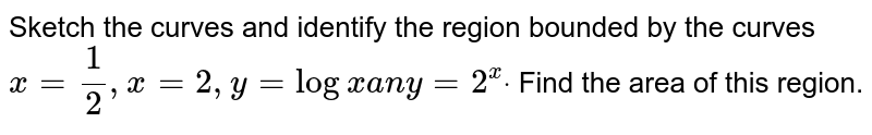 Sketch the curves and identify the region bounded   by the curves `x=1/2,x=2,y=logxa ny=2^xdot` Find the area of this region.