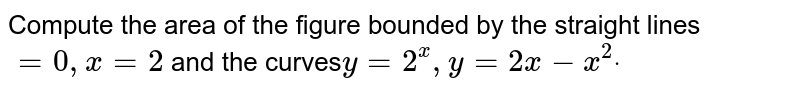 Compute the area of the figure bounded by the   straight lines `=0,x=2` and the curves`y=2^x ,y=2x-x^2dot`