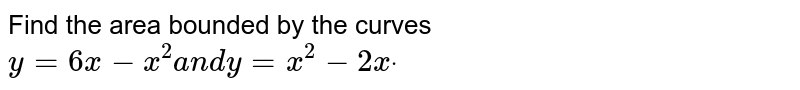 Find the area bounded by the curves `y=6x-x^2a n dy=x^2-2xdot`