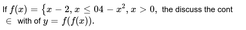 If  `f(x)={x-2, x le 0 and 4-x^2,x > 0,` then discuss the continuity of `y=f(f(x)).`