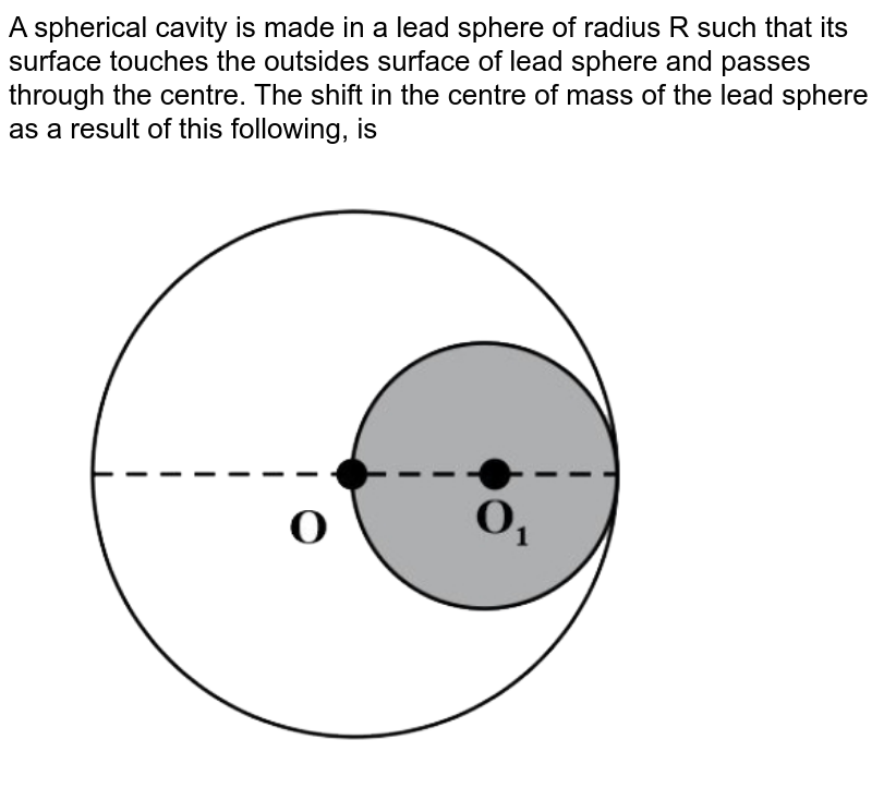 """A spherical cavity is made in a lead sphere of radius R such that its surface touches the outsides surface of lead sphere and passes through the centre. The shift in the centre of mass of the lead sphere as a result of this hollowing, is <br> <img src=""""https://d10lpgp6xz60nq.cloudfront.net/physics_images/NTA_JEE_MOK_TST_29_E01_019_Q01.png"""" width=""""80%"""">"""