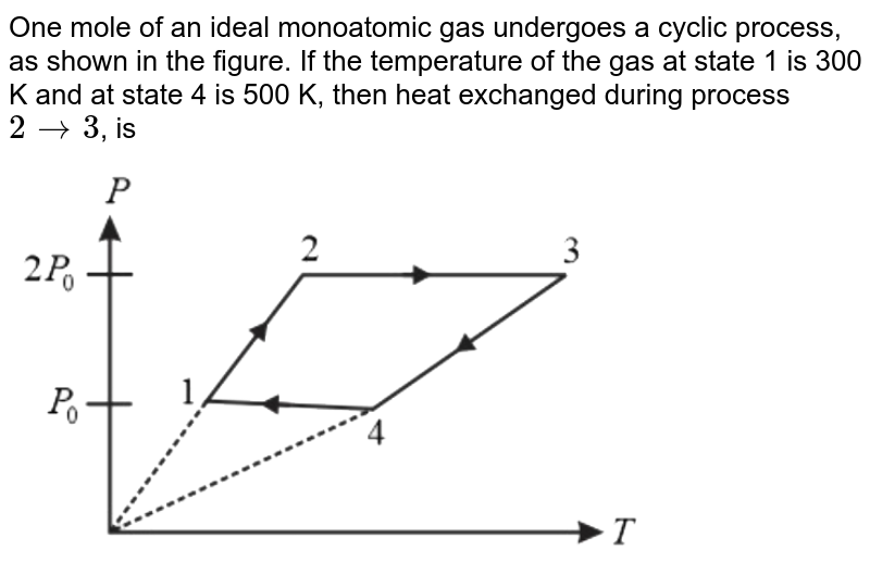 """One mole of an ideal monatomic gas undergoes a cyclic process as shown in the figure. If the temperature of the gas at state 1 is 300 K and at state 4 is 500 K, then heat exchanged during process 2 `rarr`3, is <br> <img src=""""https://d10lpgp6xz60nq.cloudfront.net/physics_images/NTA_JEE_MOK_TST_32_E01_009_Q01.png"""" width=""""80%"""">"""