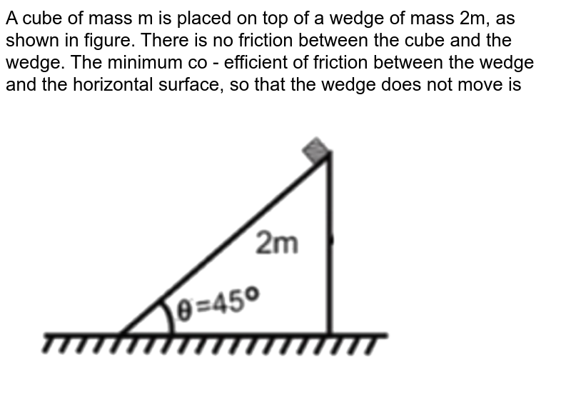 """A cube of mass m is placed on top of a wedge of mass 2m, as shown in figure. There is no friction between the cube and the wedge. The minimum co - efficient of friction between the wedge and the horizontal surface, so that the wedge does not move is <br> <img src=""""https://d10lpgp6xz60nq.cloudfront.net/physics_images/NTA_JEE_MOK_TST_42_E01_012_Q01.png"""" width=""""80%"""">"""