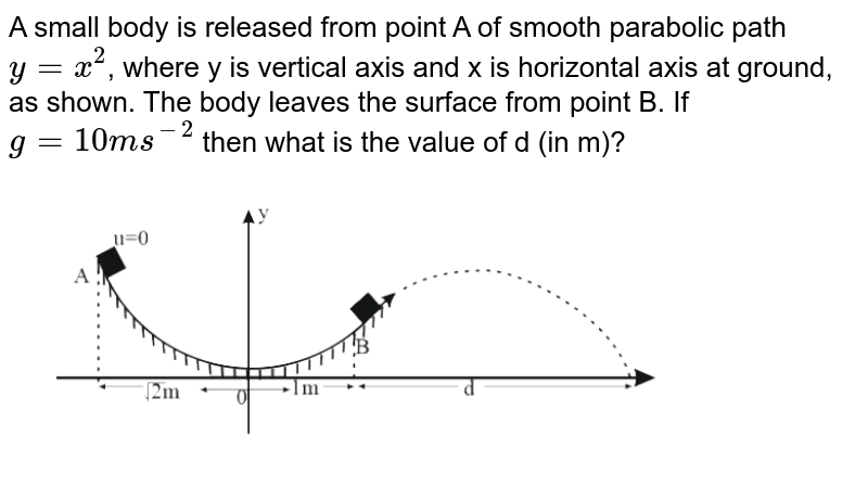 """A small body is released from point A of smooth parabolic path `y=x^(2)`, where y is vertical axis and x is horizontal axis at ground, as shown. The body leaves the surface from point B. If `g = 10ms^(-2)` then what is the value of d (in m)? <br> <img src=""""https://d10lpgp6xz60nq.cloudfront.net/physics_images/NTA_JEE_MOK_TST_47_E01_023_Q01.png"""" width=""""80%"""">"""
