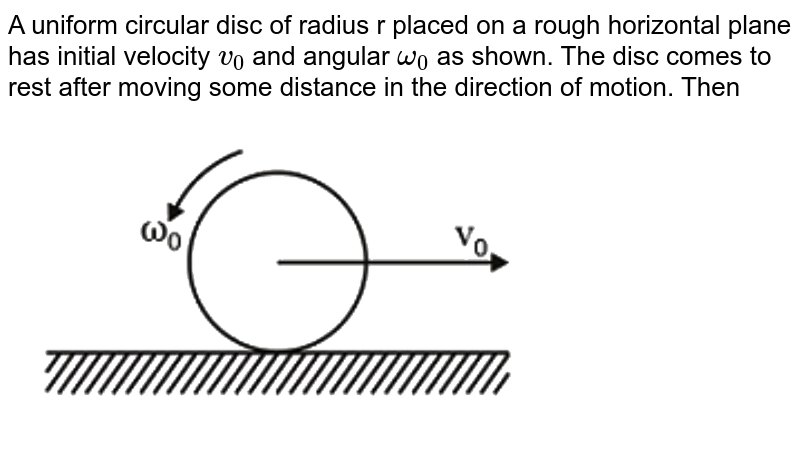 """A uniform circular disc of radius r placed on a rough horizontal plane has initial velocity `v_(0)` and angular `omega_(0)` as shown. The disc comes to rest after moving some distance in the direction of motion. Then <br> <img src=""""https://d10lpgp6xz60nq.cloudfront.net/physics_images/NTA_JEE_MOK_TST_63_E01_018_Q01.png"""" width=""""80%"""">"""