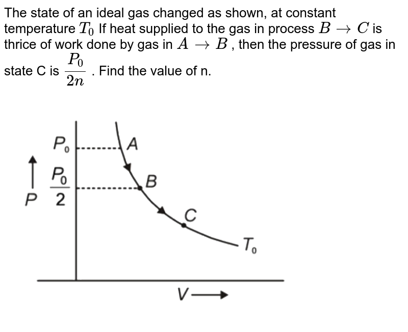 """The state of an ideal gas changed as shown, at constant temperature `T_0`  If heat supplied to the gas in process  `BrarrC` is thrice of work done by gas in `ArarrB` , then the pressure of gas in state C is `P_0/(2n)` . Find the value of n. <br> <img src=""""https://d10lpgp6xz60nq.cloudfront.net/physics_images/NTA_NEET_SET_41_E01_018_Q01.png"""" width=""""80%"""">"""