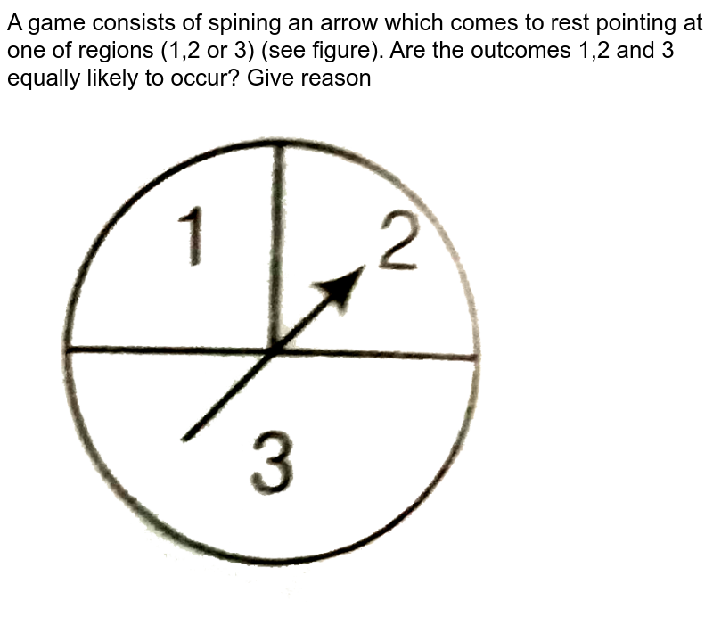 """A game consists of spining an arrow which comes to rest pointing at one of regions (1,2 or 3) (see figure). Are the outcomes 1,2 and 3 equally likely to occur? Give reason <br> <img src=""""https://d10lpgp6xz60nq.cloudfront.net/physics_images/ARH_NCERT_EXE_MATH_X_C13_S01_032_Q01.png"""" width=""""80%"""">"""