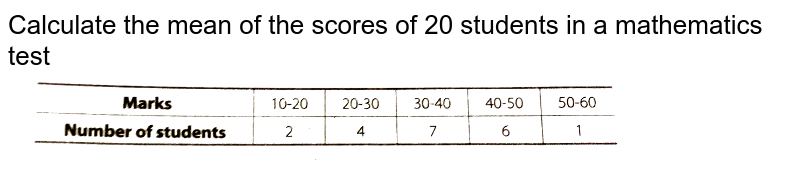 """Calculate the mean of the scores of 20 students in a mathematics test <br> <img src=""""https://d10lpgp6xz60nq.cloudfront.net/physics_images/ARH_NCERT_EXE_MATH_X_C13_S01_042_Q01.png"""" width=""""80%"""">"""