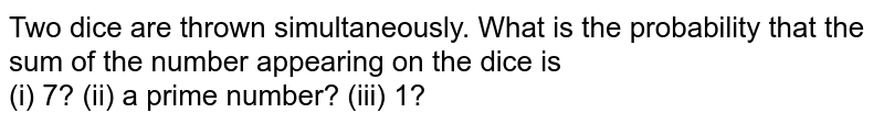 Two dice are thrown simultaneously. What is the probability that the sum of the number appearing on the dice is  <br> (i)  7?   (ii) a prime number? (iii) 1?