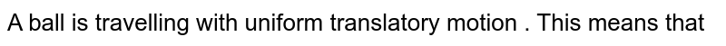 A ball is travelling with uniform translatory motion . This means that