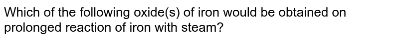 Which of the following oxide(s) of iron would be obtained on prolonged reaction of iron with steam?