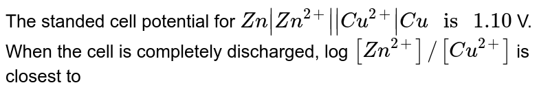 """The standed cell potential for `Zn