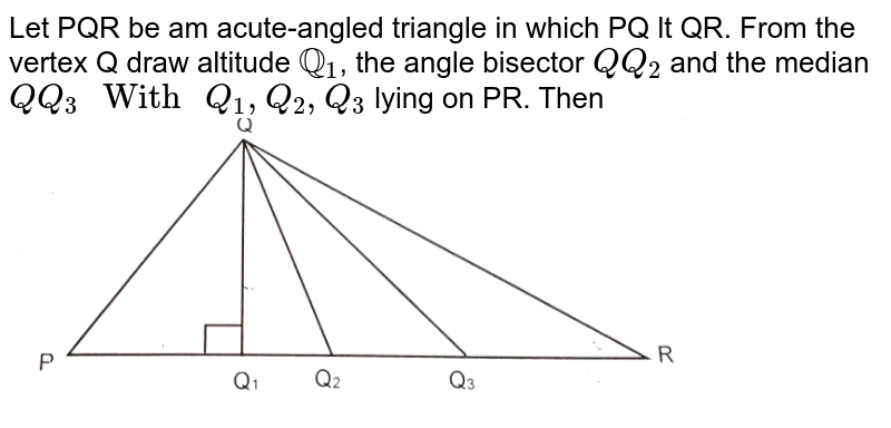 """Let PQR be am acute-angled triangle in which PQ lt QR. From the vertex Q draw altitude `QQ_(1)`,  the angle bisector `Q Q_(2)` and the median`Q Q_(3)"""" With """"Q_(1),Q_(2),Q_(3)` lying on PR. Then <br>  <img src=""""https://d10lpgp6xz60nq.cloudfront.net/physics_images/RES_KVPY_2018_SA_XI_P1_E01_014_Q01.png"""" width=""""80%"""">"""