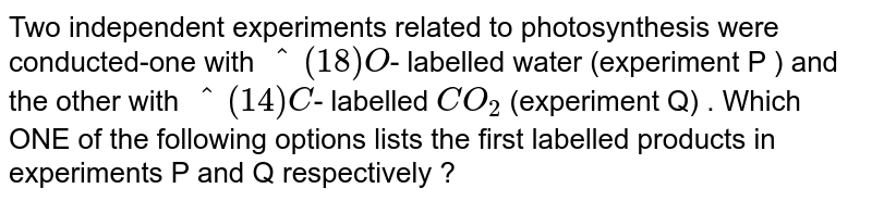 Two independent experiments related to photosynthesis were conducted-one with `^(18)O`- labelled water (experiment P ) and the other with `^(14)C`- labelled `CO_(2)` (experiment Q) . Which ONE of the following options lists the first labelled products in experiments P and Q respectively ?