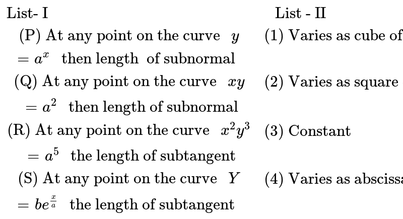 """`{:(""""List- I"""" , """" List - II"""") , ( """"(P) At any point on the curve """" y=a^(x) """" then length  of subnormal """" , """"(1) Varies as cube of the ordinate of the point """"),(""""(Q) At any point on the curve """" xy = a^(2) """" then length of subnormal"""" , """"(2) Varies as square of the ordinate of the point""""),(""""(R) At any point on the curve """" x^(2)y^(3) = a^(5) """" the length of subtangent"""" , """"(3) Constant""""),(""""(S) At any point on the curve """" Y =be^(x/a) """" the length of subtangent """" , """"(4) Varies as abscissa of the point """"):}`"""