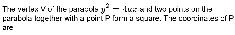 The vertex V of the parabola `y ^(2) = 4ax` and two points on the parabola together with a point P form a square. The coordinates of P are