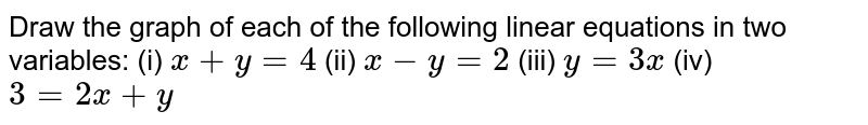 Draw the graph of each of the   following linear equations in two variables: (i) `x+y=4`  (ii)   `x-y=2`  (iii)   `y=3x`  (iv)   `3=2x+y`