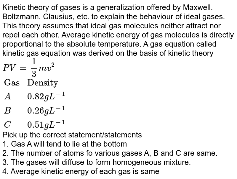 """Kinetic theory of gases is a generalization offered by Maxwell. Boltzmann, Clausius, etc. to explain the behaviour of ideal gases. This theory assumes that ideal gas molecules neither attract nor repel each other. Average kinetic energy of gas  molecules is directly proportional to the absolute temperature. A gas equation called kinetic gas equation was derived on the basis of kinetic theory <br> `PV = (1)/(3) mv^(2)` <br> `{:(""""Gas"""",""""Density"""",),(A,0.82 g L^(-1),),(B,0.26 g L^(-1),),(C,0.51 g L^(-1),):}` <br> Pick up the correct statement/statements <br> 1. Gas A will tend to lie at the bottom <br> 2. The number of atoms fo various gases A, B and C are same. <br> 3. The gases will diffuse to form homogeneous mixture. <br> 4. Average kinetic energy of each gas is same"""