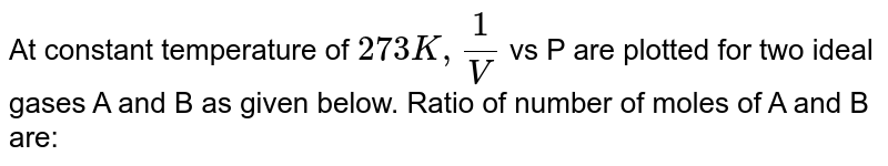At constant temperature of `273 K, (1)/(V)` vs P are plotted for two ideal gases A and B as given below. Ratio of number of moles of A and B are: