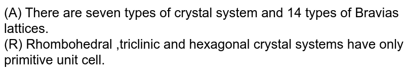 (A) There are seven types of crystal system and 14 types of Bravias lattices. <br> (R) Rhombohedral ,triclinic and hexagonal crystal systems have only primitive unit cell.