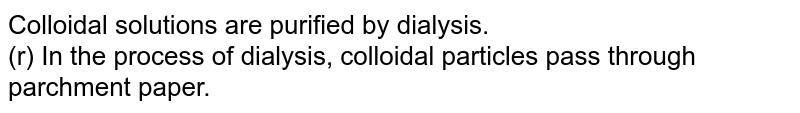 Colloidal solutions are purified by dialysis. <br> (r) In the process of dialysis, colloidal particles pass through parchment paper.