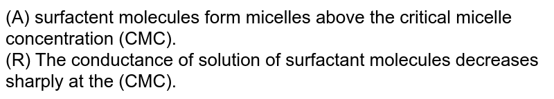 (A) surfactent molecules form micelles above the critical micelle concentration (CMC). <br> (R) The conductance of solution of surfactant molecules decreases sharply at the (CMC).