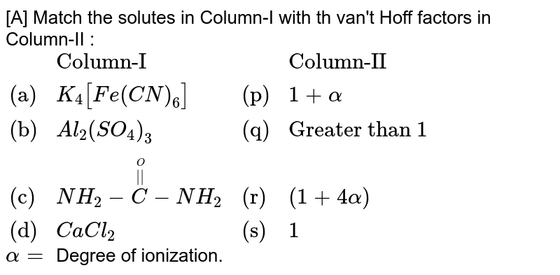 """[A] Match the solutes in Column-I with th van't Hoff factors in Column-II : <br> `{:(,""""Column-I"""",,""""Column-II""""),(""""(a)"""",K_(4)[Fe(CN)_(6)],""""(p)"""",1+alpha),(""""(b)"""",Al_(2)(SO_(4))_(3),""""(q)"""",""""Greater than 1""""),(""""(c)"""",NH_(2)-overset(overset(O)(""""  """"))(C)-NH_(2),""""(r)"""",(1+4alpha)),(""""(d)"""",CaCl_(2),""""(s)"""",1):}` <br> `alpha=` Degree of ionization."""
