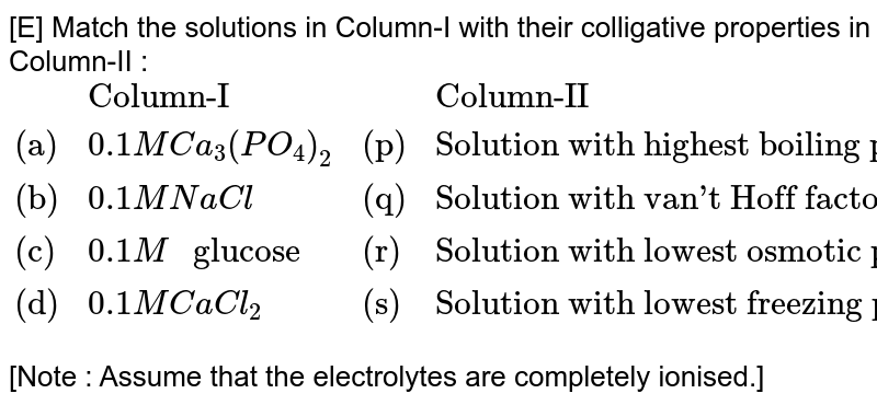 """[E] Match the solutions in Column-I with their colligative properties in Column-II : <br> `{:(,""""Column-I"""",,""""Column-II""""),(""""(a)"""",0.1M Ca_(3)(PO_(4))_(2),""""(p)"""",""""Solution with highest boiling point""""),(""""(b)"""",0.1M NaCl,""""(q)"""",""""Solution with van't Hoff factor greater than 1""""),(""""(c)"""",0.1 M """" glucose"""",""""(r)"""",""""Solution with lowest osmotic pressure""""),(""""(d)"""",0.1 M CaCl_(2),""""(s)"""",""""Solution with lowest freezing point""""):}` <br> [Note : Assume that the electrolytes are completely ionised.]"""
