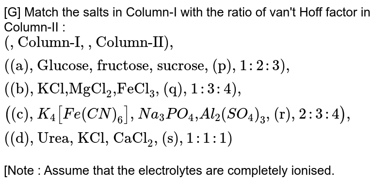 """[G] Match the salts in Column-I with the ratio of van't Hoff factor in Column-II : <br> `{:(,""""Column-I"""",,""""Column-II""""),(""""(a)"""",""""Glucose, fructose, sucrose"""",""""(p)"""",1:2:3),(""""(b)"""",""""KCl,MgCl""""_(2)"""",FeCl""""_(3),""""(q)"""",1:3:4),(""""(c)"""",K_(4)[Fe(CN)_(6)],Na_(3)PO_(4)"""",""""Al_(2)(SO_(4))_(3),""""(r)"""",2:3:4),(""""(d)"""",""""Urea, KCl, CaCl""""_(2),""""(s)"""",1:1:1):}`  <br> [Note : Assume that the electrolytes are completely ionised."""