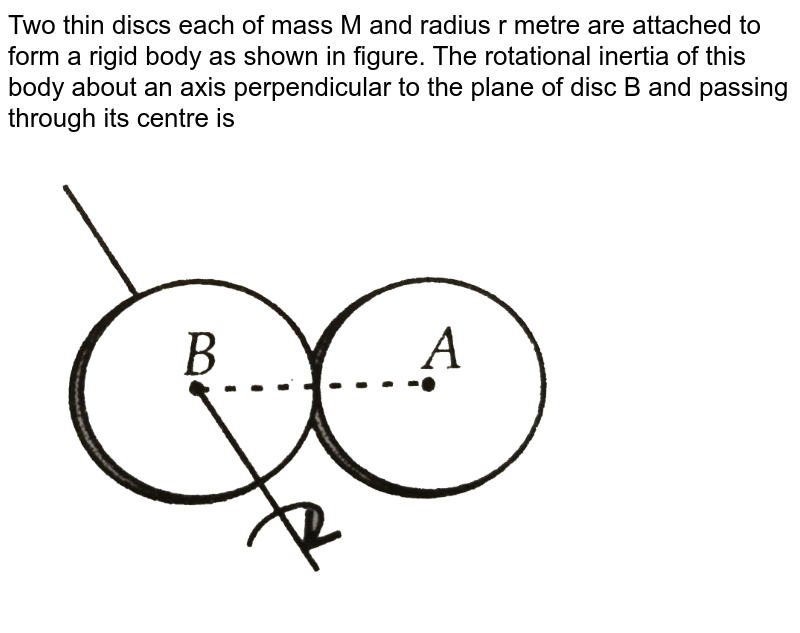 """Two thin discs each of mass M and radius r metre are attached to form a rigid body as shown in figure. The rotational inertia of this body about an axis perpendicular to the plane of disc B and passing through its centre is <br> <img src=""""https://d10lpgp6xz60nq.cloudfront.net/physics_images/NCERT_OBJ_FING_PHY_XI_PP_02_E01_068_Q01.png"""" width=""""80%"""">"""