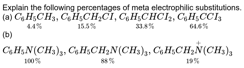 Explain the following percentages of meta electrophilic substitutions. <br> (a) `underset(4.4%)(C_(6)H_(5)CH_(3)),underset(15.5%)(C_(6)H_(5)CH_(2)CI),underset(33.8%)(C_(6)H_(5)CHCI_(2)),underset(64.6%)(C_(6)H_(5)C CI_(3))` <br> (b) `underset(100%)(C_(6)H_(5)N(CH_(3))_(3)),underset(88%)(C_(6)H_(5)CH_(2)N(CH_(3))_(3)),underset(19%)(C_(6)H_(5)CH_(2)overset(+)N(CH_(3))_(3))`
