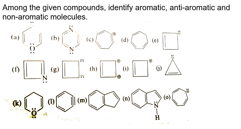 """Among the given compounds, identify aromatic, anti-aromatic and non-aromatic molecules. <br> <img src=""""https://d10lpgp6xz60nq.cloudfront.net/physics_images/GRB_ORG_CHM_P1_C08_E01_014_Q01.png"""" width=""""80%"""">"""
