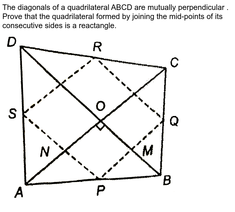 """The diagonals of a quadrilateral ABCD are mutually perpendicular . Prove that the quadrilateral formed by joining the mid-points of its consecutive sides is a reactangle. <br> <img src=""""https://d10lpgp6xz60nq.cloudfront.net/physics_images/NTN_MATH_IX_C08_S01_024_Q01.png"""" width=""""80%"""">"""