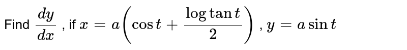 Find `(dy)/(dx)` , if `x=a(cost+logtant/2)` , `y=asint`