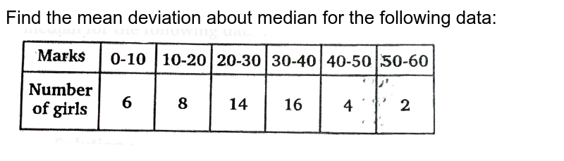 """Find the mean deviation about median for the following data: <br> <img src=""""https://d10lpgp6xz60nq.cloudfront.net/physics_images/NTN_MATH_XI_C15_E01_035_Q01.png"""" width=""""80%"""">"""