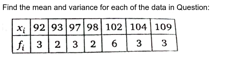 """Find the mean and variance for each of the data in Question: <br> <img src=""""https://d10lpgp6xz60nq.cloudfront.net/physics_images/NTN_MATH_XI_C15_E01_041_Q01.png"""" width=""""80%"""">"""