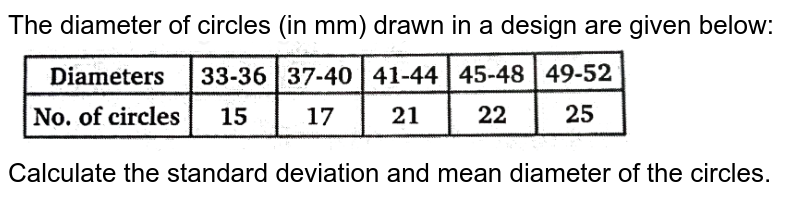 """The diameter of circles (in mm) drawn in a design are given below: <br> <img src=""""https://d10lpgp6xz60nq.cloudfront.net/physics_images/NTN_MATH_XI_C15_E01_046_Q01.png"""" width=""""80%"""">   <br> Calculate the standard deviation and mean diameter of the circles."""