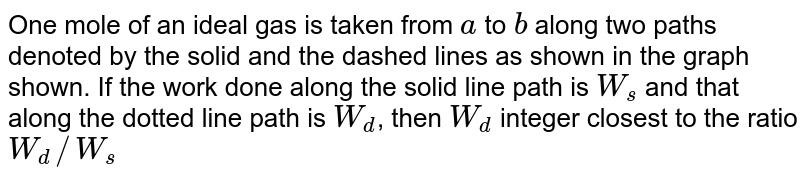 One mole of an ideal gas is taken from `a` to `b` along two paths denoted by the solid and the dashed lines as shown in the graph shown. If the work done along the solid line path is `W_(s)` and that along the dotted line path is `W_(d)`, then `W_(d)` integer closest to the ratio `W_(d)//W_(s)`